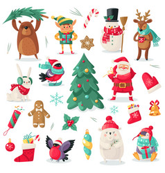 Christmas characters cartoon animals bullfinch vector