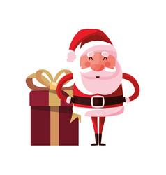 christmas santa claus gift box decoration vector image