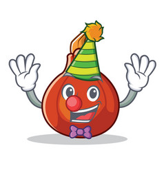 Clown red kuri squash mascot cartoon vector