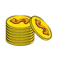 Coins currency money stack vector