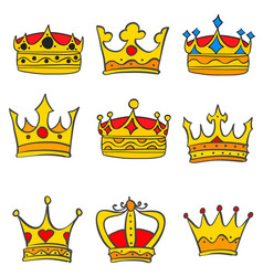 Collection various crown glamour style doodles vector