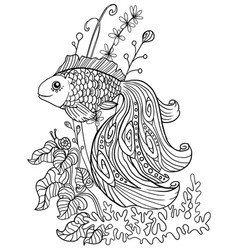 Coloring book with a goldfish in an aquarium vector