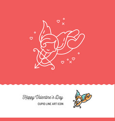 cupid colorful line art icons love symbol vector image