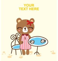 cute bear on the tea time vector image