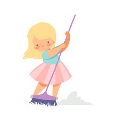 Cute blonde little girl sweeping floor with vector