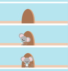 Cute mouse looking out hole in wall vector