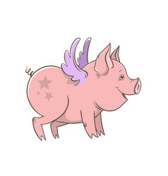 Cute winged piglet outline vector