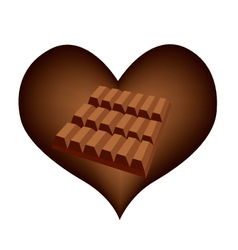 Delicious Chocolates Bar in Lovely Heart Shape vector image