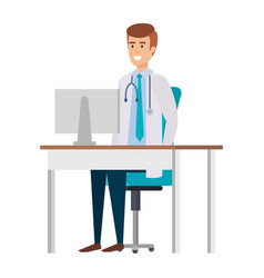 Doctor in consulting room vector