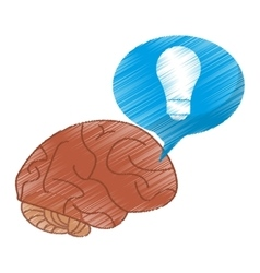 Drawing brain thinking idea blue bubble vector