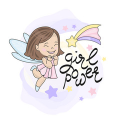 Fairy fly star girl and lettering vector
