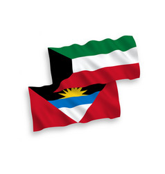 Flags antigua and barbuda and kuwait on a white vector