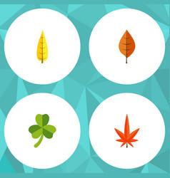 flat icon foliage set of leaf foliage aspen and vector image