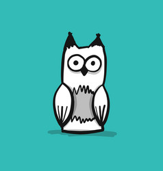 forest owl character sketch for your design vector image