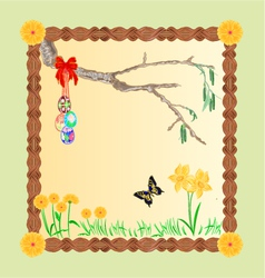 Frame easter eggs and a birch twig and butterfly vector image
