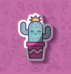 girly icon over background image vector image