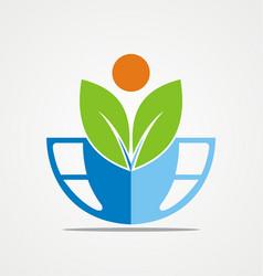 globe green leaf ecology logo vector image