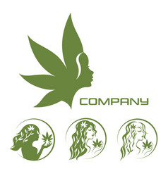 Goddess of the earth and cannabis logo vector