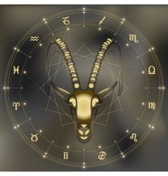 Golden goat portrait zodiac Capricorn sign vector