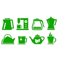 Green icons kettle set vector