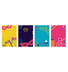 greeting card background set for jewish holiday vector image
