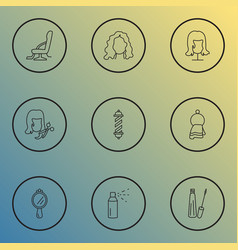 Hairdresser icons line style set with barber chair vector