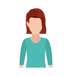 Half body silhouette woman with redhair vector