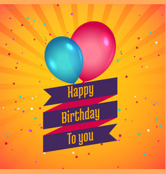 Happy birthday celebration card with balloons vector