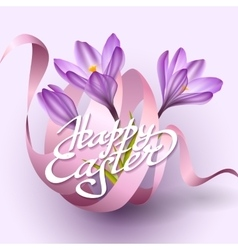 Happy Easter greeting card template with flowers vector image