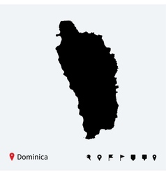 High detailed map of Dominica with navigation pins vector image