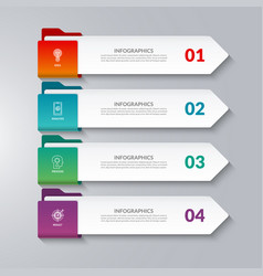 Infographic arrows 4 options steps parts vector