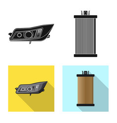 isolated object of auto and part logo set of auto vector image