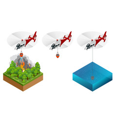 isometric helicopter dropping water on a fire vector image