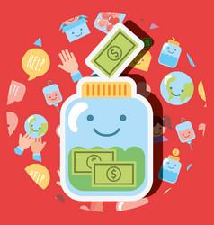 Jar glass banknote money dollar kawaii charity vector