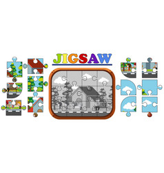 Jigsaw puzzle game with kids at home vector