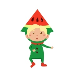Kid In Watermelon Costume vector image