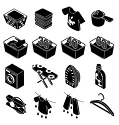 laundry icons set simple isometric style vector image