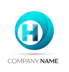 Letter h logo symbol in the colorful circle on vector