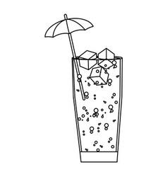 Line delicious cold beverage glass with umbrella vector