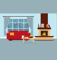 living room with window fireplace and sofa vector image