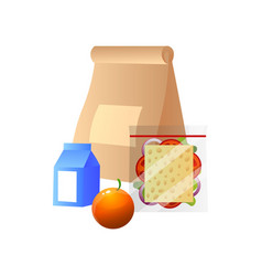 lunch bag with healthy food sandwich orange and vector image