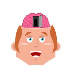 Man and open door to brain psychology nlp concept vector