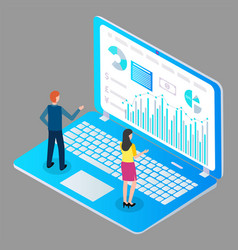 man and woman study financial charts bar charts vector image