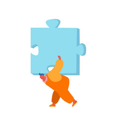 Man carry huge puzzle piece on back isolated on vector