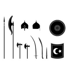 medieval osman weapons and armors set osman vector image