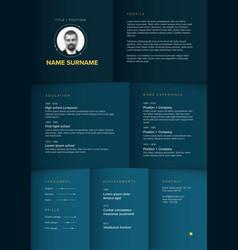 minimalist blue resume cv template vector image