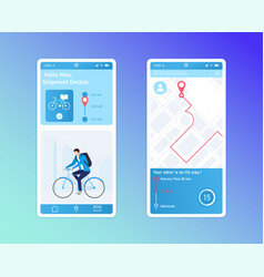 Mobile app design for delivery tracking service vector