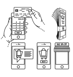 Mobile payment set vector image