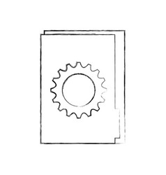office folder with gear collaboration solution vector image