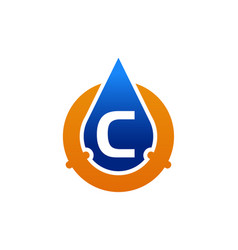 Oil water pipe solutions letter c vector